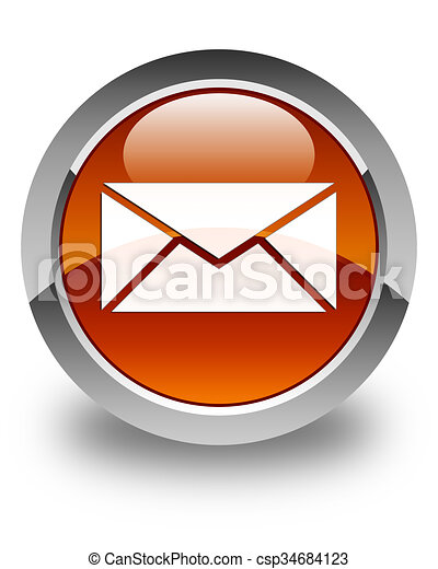 Email icon glossy brown round button - csp34684123