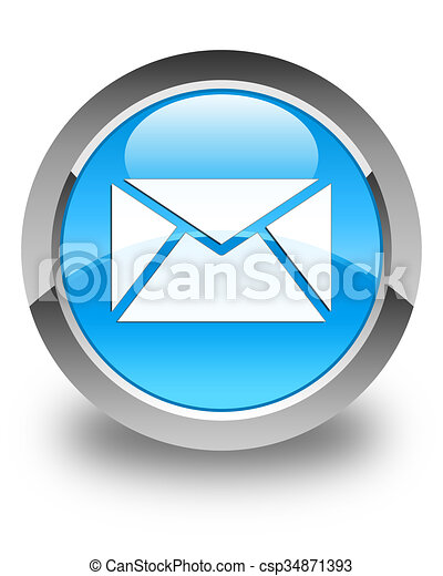 Email icon glossy cyan blue round button - csp34871393
