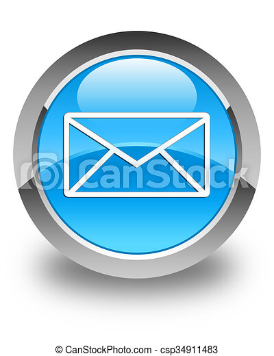 Email icon glossy cyan blue round button - csp34911483