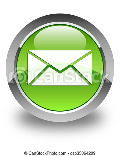 Email icon glossy green round button 2 - csp35064209
