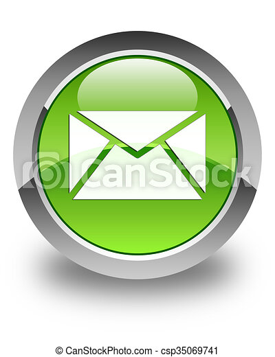 Email icon glossy green round button 3 - csp35069741