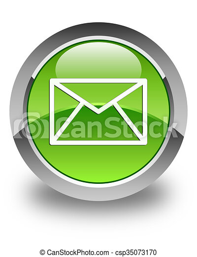 Email icon glossy green round button 4 - csp35073170
