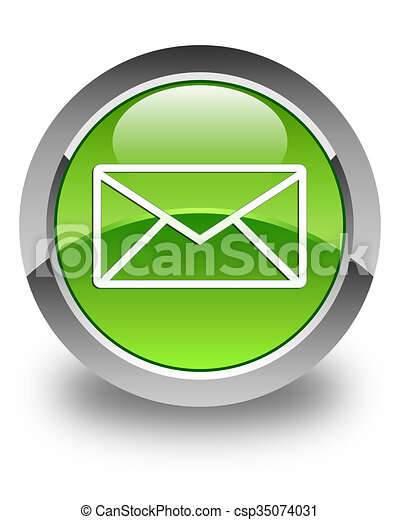 Email icon glossy green round button 5 - csp35074031