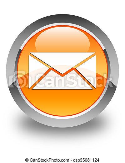 Email icon glossy orange round button 2 - csp35081124