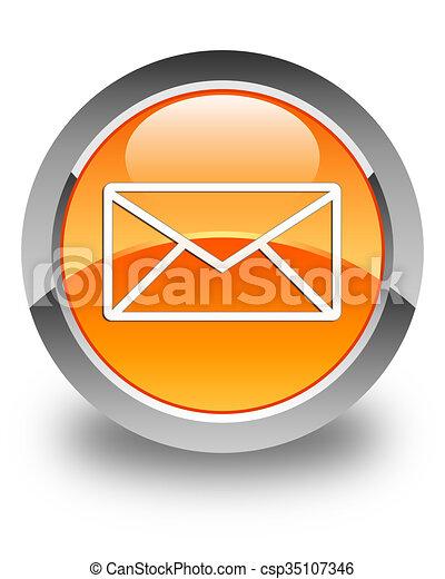 Email icon glossy orange round button 5 - csp35107346