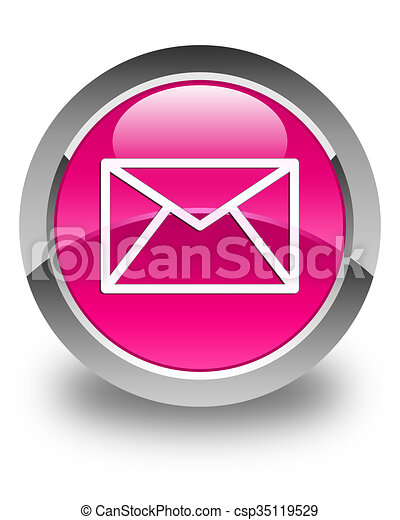 Email icon glossy pink round button - csp35119529