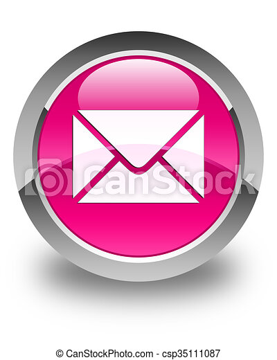 Email icon glossy pink round button - csp35111087