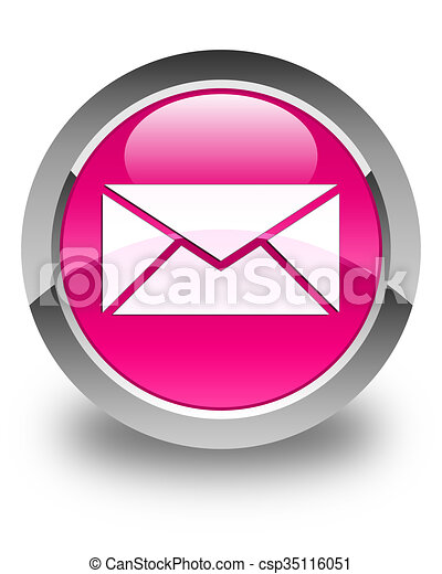 Email icon glossy pink round button - csp35116051