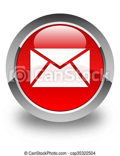Email icon glossy red round button - csp35322504
