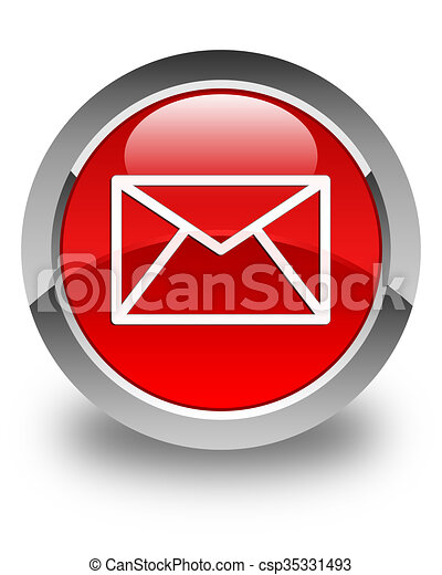 Email icon glossy red round button - csp35331493