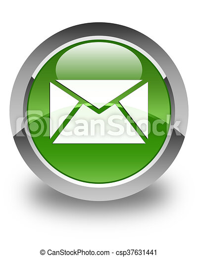 Email icon glossy soft green round button - csp37631441