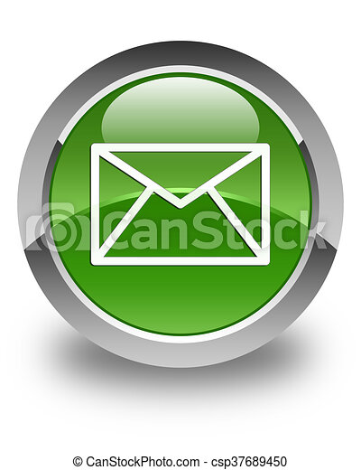 Email icon glossy soft green round button - csp37689450