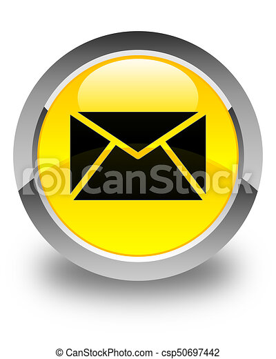 Email icon glossy yellow round button - csp50697442