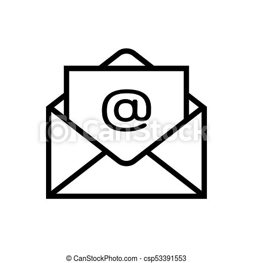 Email Icon Isolated On White Background Open Envelope Pictogram