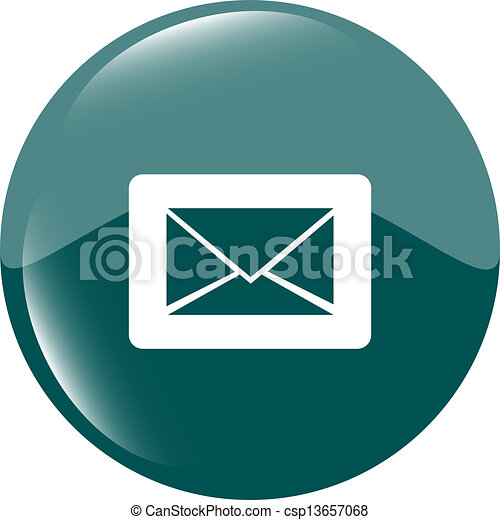 Email icon on glossy round button - csp13657068