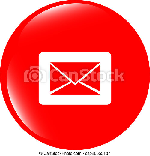 Email icon on glossy round button - csp20555187