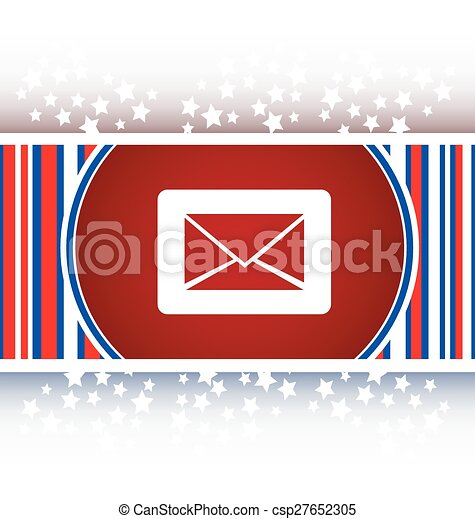 Email icon on glossy round button vector - csp27652305