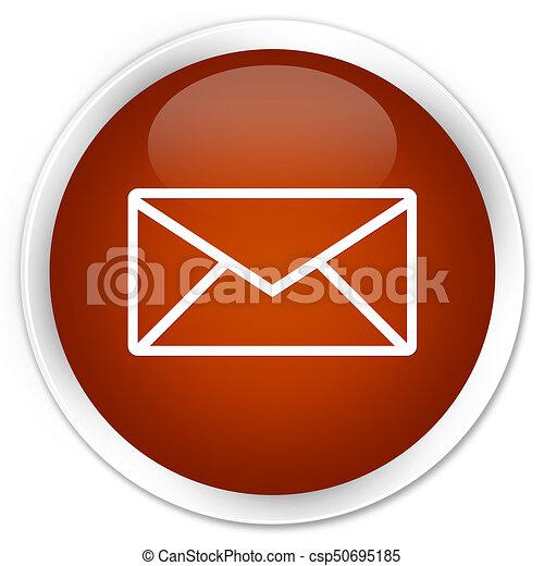 Email icon premium brown round button - csp50695185