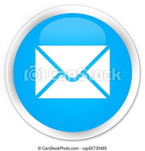 Email icon premium cyan blue round button - csp50730485