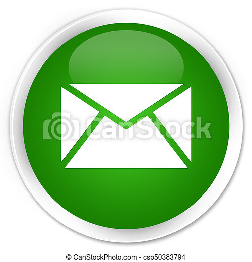 Email icon premium green round button - csp50383794