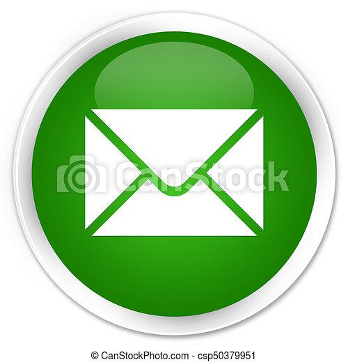 Email icon premium green round button - csp50379951