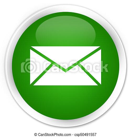Email icon premium green round button - csp50491557