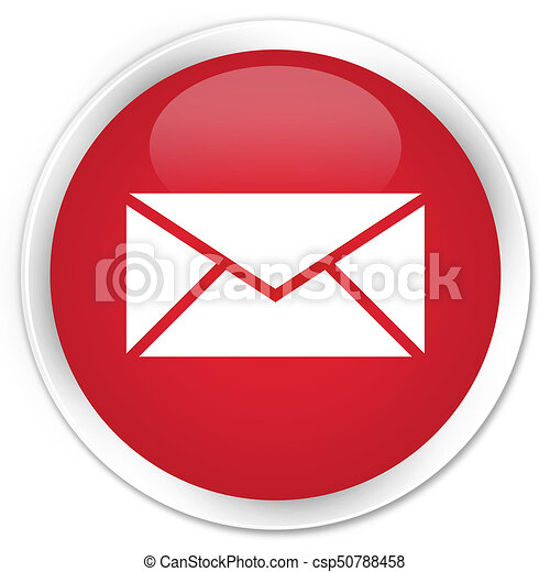 Email icon premium red round button - csp50788458