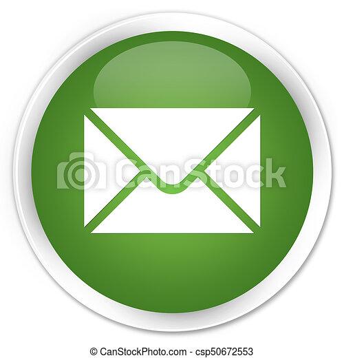 Email icon premium soft green round button - csp50672553