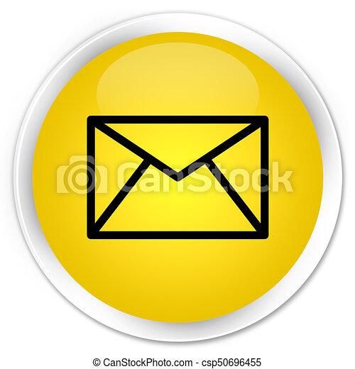 Email icon premium yellow round button - csp50696455