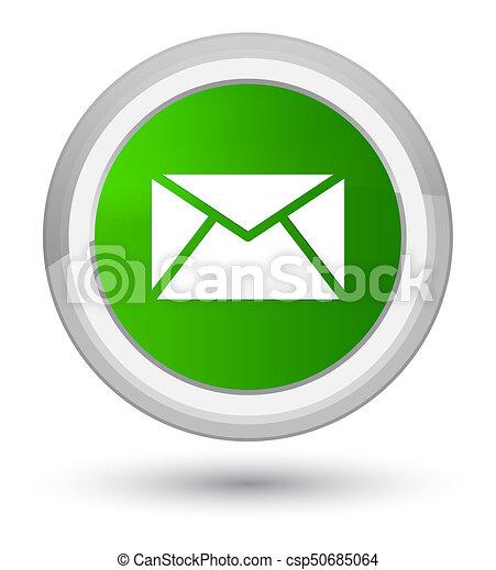 Email icon prime green round button - csp50685064