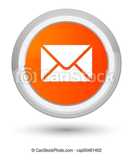 Email icon prime orange round button - csp50491402