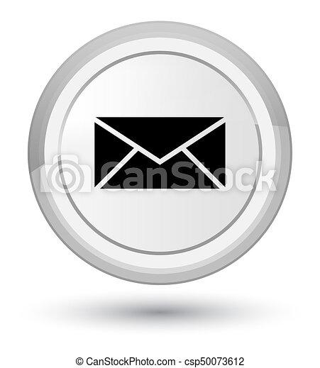 Email icon prime white round button - csp50073612