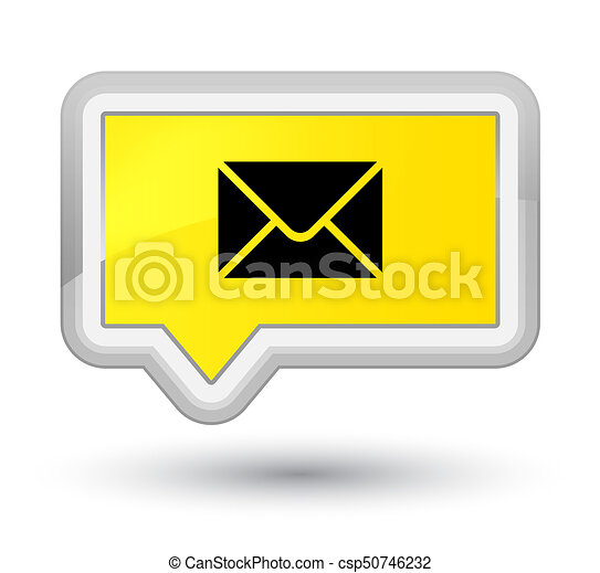 Email icon prime yellow banner button - csp50746232