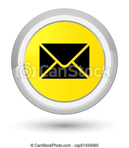 Email icon prime yellow round button - csp51434060