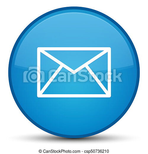 Email icon special cyan blue round button - csp50736210