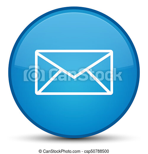 Email icon special cyan blue round button - csp50788500