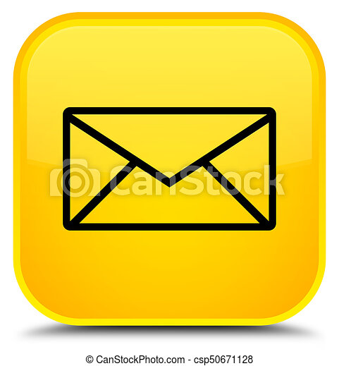 Email icon special yellow square button - csp50671128