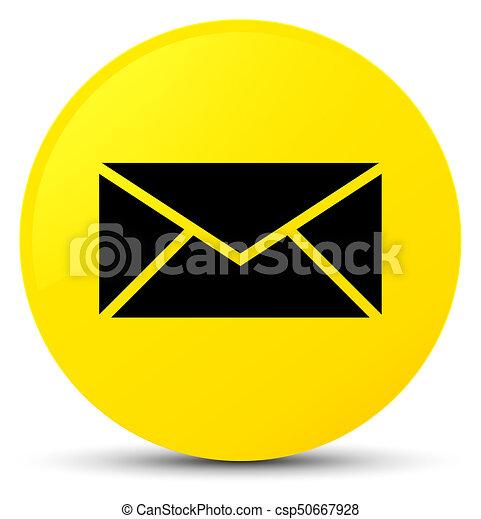Email icon yellow round button - csp50667928