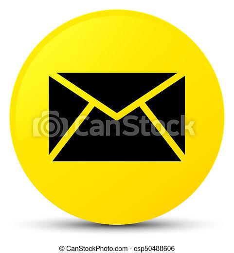 Email icon yellow round button - csp50488606
