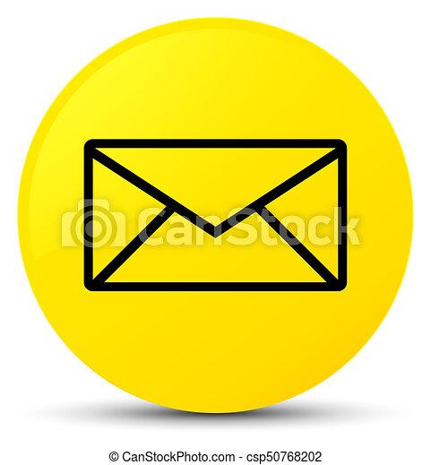 Email icon yellow round button - csp50768202