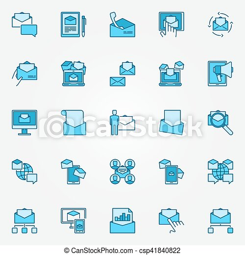 Email marketing blue icons - csp41840822