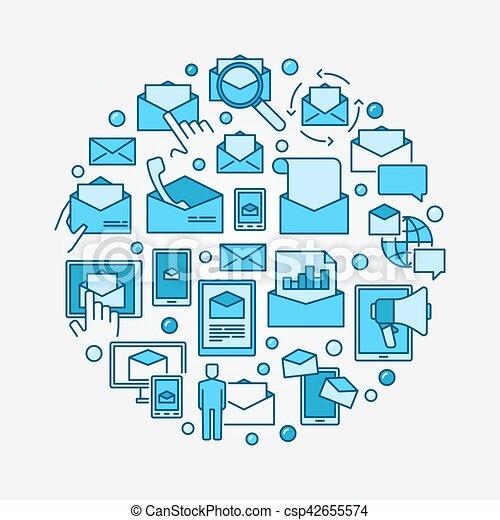 Email marketing blue illustraion - csp42655574