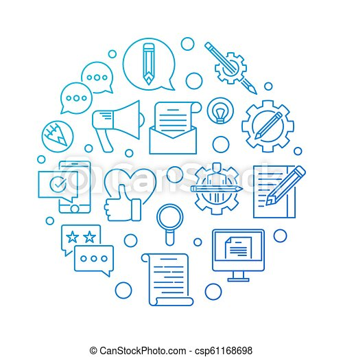 Email Marketing blue round vector outline illustration - csp61168698