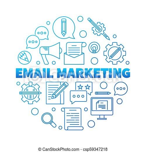 Email Marketing round blue vector concept illustration - csp59347218
