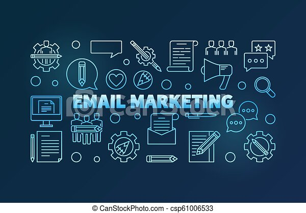 Email Marketing vector blue thin line horizontal illustration - csp61006533