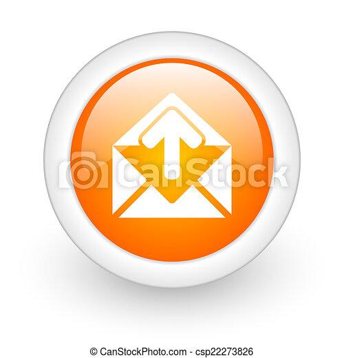 email orange glossy web icon on white background - csp22273826