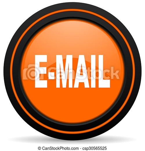 email orange glossy web icon on white background - csp30565525