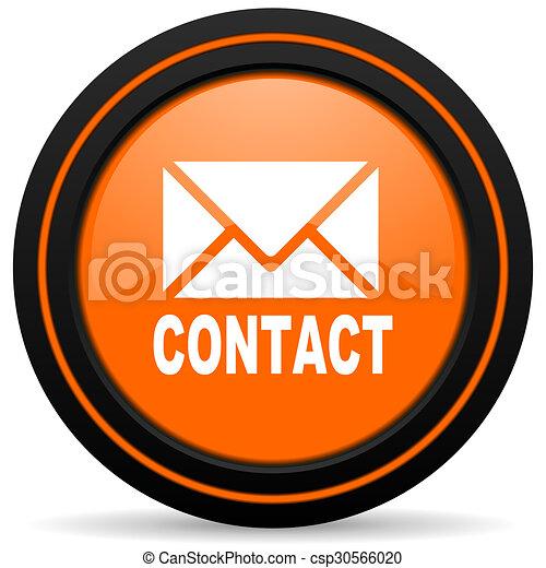 email orange glossy web icon on white background - csp30566020