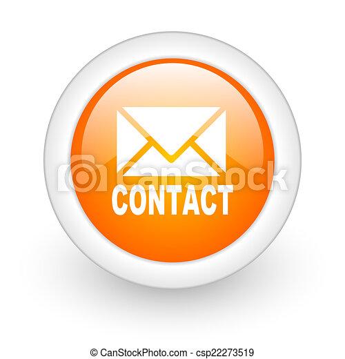 email orange glossy web icon on white background - csp22273519