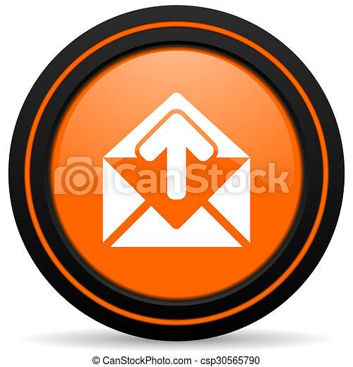 email orange glossy web icon on white background - csp30565790